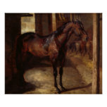 Dark Bay Horse in the stable Poster