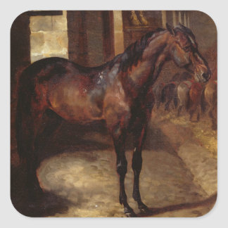 Dark Bay Horse in the stable Square Sticker