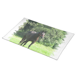 Dark Bay Horse Placemat Cloth Place Mat