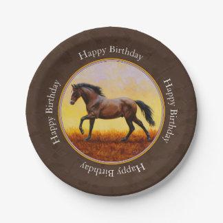 Dark Bay Running Horse Brown Paper Plate