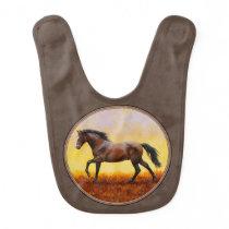 Dark Bay Running Horse Taupe Baby Bib