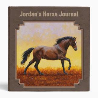 Dark Bay Running Horse Taupe Binder