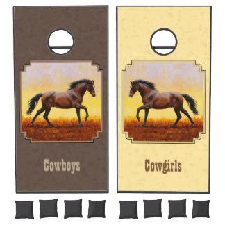 Dark Bay Running Horse Taupe Cornhole Set