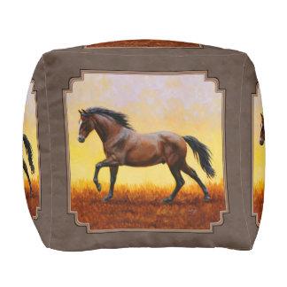 Dark Bay Running Horse Taupe Pouf