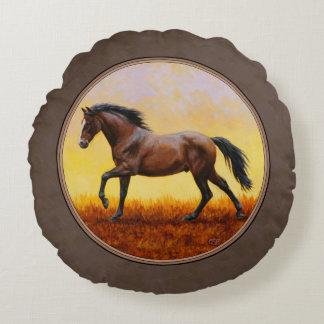 Dark Bay Running Horse Taupe Round Pillow