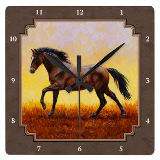 Dark Bay Running Horse Taupe Square Wall Clock