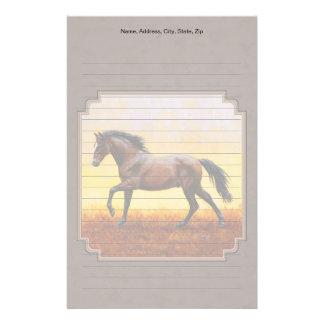 Dark Bay Running Horse Taupe Stationery