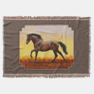Dark Bay Running Horse Taupe Throw Blanket