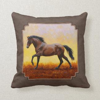 Dark Bay Running Horse Taupe Throw Pillow
