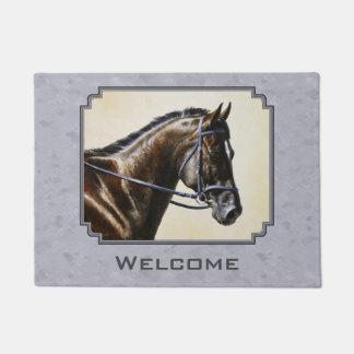 Dark Bay Sport Horse Gray Doormat