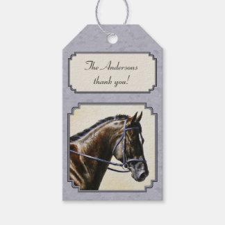 Dark Bay Sport Horse Gray Gift Tags
