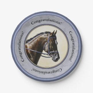 Dark Bay Sport Horse Gray Paper Plate