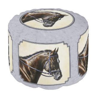 Dark Bay Sport Horse Gray Pouf