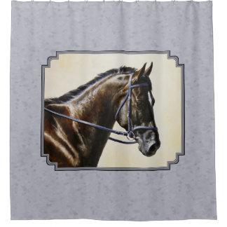 Dark Bay Sport Horse Gray Shower Curtain