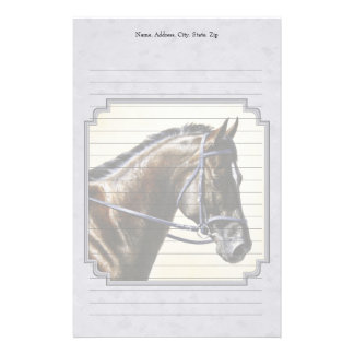 Dark Bay Sport Horse Gray Stationery