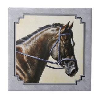 Dark Bay Sport Horse Gray Tile