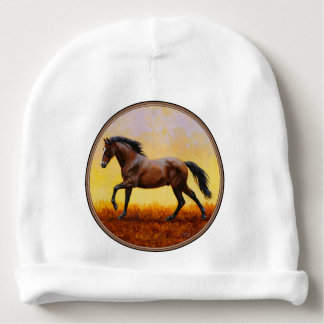 Dark Bay Stallion Horse Galloping Baby Beanie