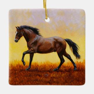 Dark Bay Stallion Horse Galloping Ceramic Ornament