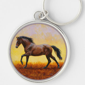 Dark Bay Stallion Horse Galloping Keychain