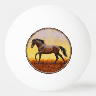 Dark Bay Stallion Horse Galloping Ping-Pong Ball