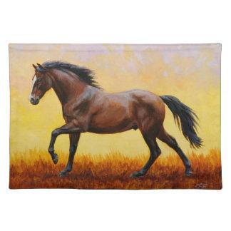 Dark Bay Stallion Horse Galloping Placemat