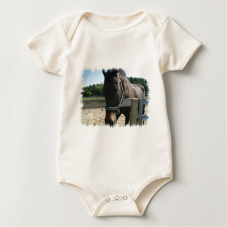 Dark Bay Thoroughbred Horse Infant Baby Bodysuits