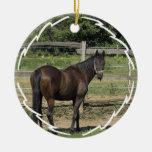 Dark Bay Thoroughbred Horse Ornament