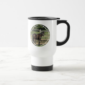 Dark Bay Thoroughbred Plastic Travel Mug