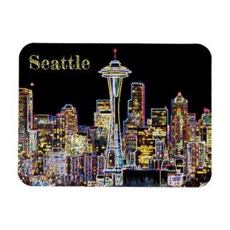Dark be the Night - Luminous Seattle Skyline Magnet