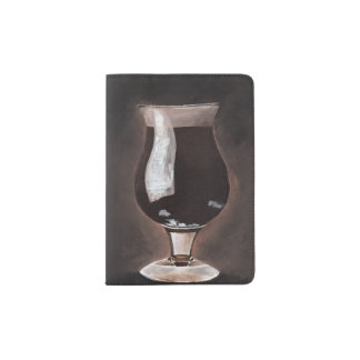 Dark Beer in Tulip Glass Porter Stout Painting Art Passport Holder