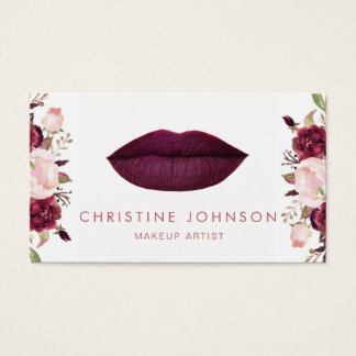 dark berry lipstick kiss and floral decor business card