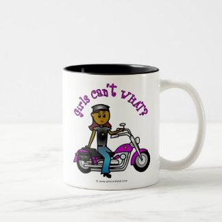 Dark Biker Girl Two-Tone Coffee Mug