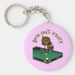 Dark Billiards Girl Basic Round Button Keychain