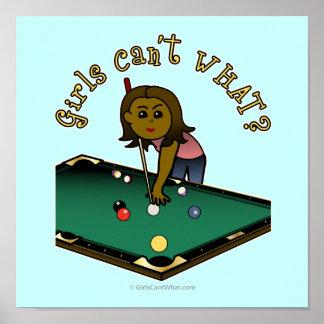 Dark Billiards Girl Print