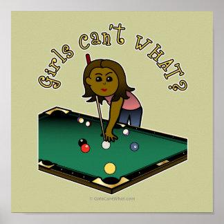 Dark Billiards Girl Poster