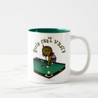 Dark Billiards Girl Two-Tone Coffee Mug