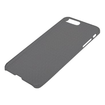 Beach Themed Dark Black and Charcoal Grey Carbon Fiber Polymer iPhone 7 Plus Case