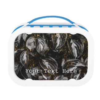 Dark Black and Gold Leaves Botanical Nature Lunch Box