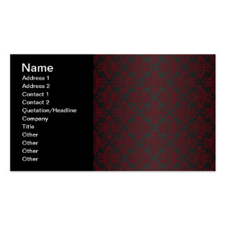 Dark Black and Red Damask Double-Sided Standard Business Cards (Pack Of 100)