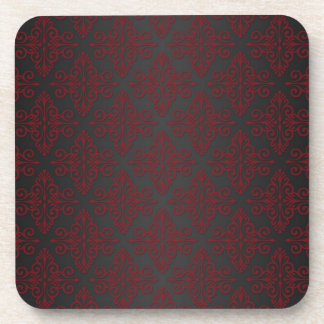Dark Black and Red Damask Coasters