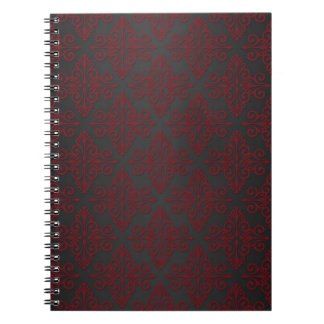 Dark Black and Red Damask Journal