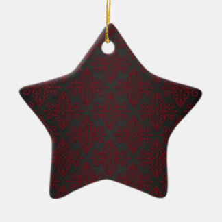 Dark Black and Red Damask Ornament