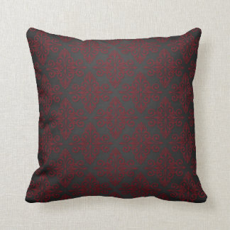 Dark Black and Red Damask Throw Pillow