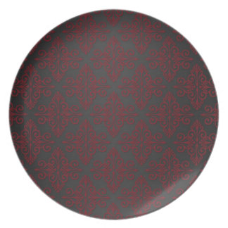 Dark Black and Red Damask Plates