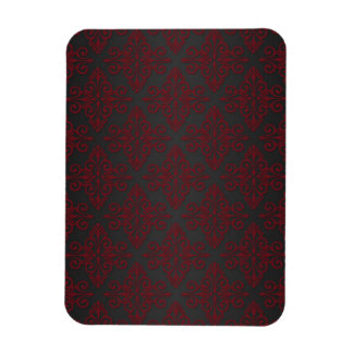 Dark Black and Red Damask Flexible Magnet