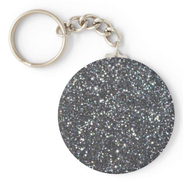 Dark Black Glitter Sparkles Keychain