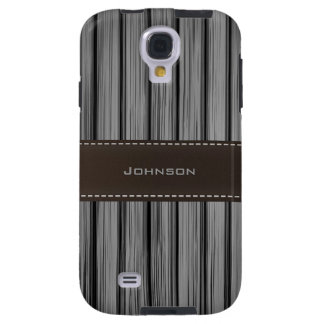 Dark Black Rosewood & Stitched Leather Custom Name Galaxy S4 Case