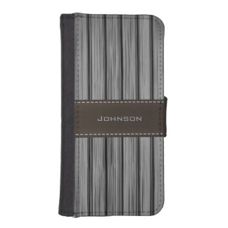 Dark Black Rosewood & Stitched Leather Custom Name iPhone SE/5/5s Wallet