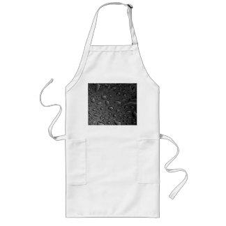 Dark Black Water Droplets Textured Design Long Apron
