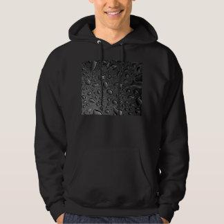 Dark Black Water Droplets Textured Design Hoodie
